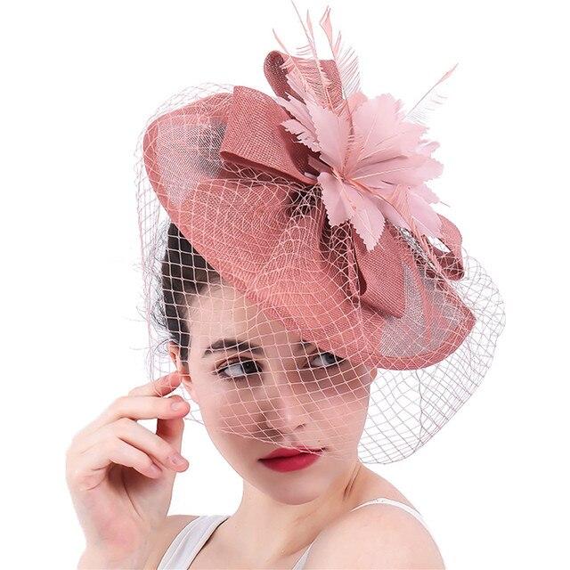 Yeni varış gelin düğün saç fascinators şapka peçe tüy çiçek saç klipleri kadın parti evli yarış şapkalar SYF31