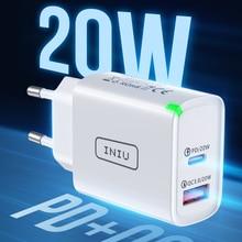 Зарядное устройство INIU PD, 20 Вт, USB Тип C, светодиодный адаптер европейского стандарта для быстрой зарядки телефона iPhone 12, 11, X, Xs, Xr, 7, AirPods, iPad, ...
