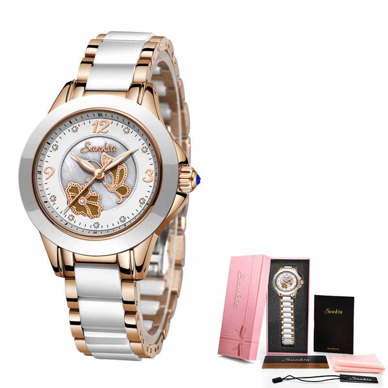 SUNKTA Lüks kristal saat Kadın Su Geçirmez Gül Altın Çelik Kayış Bayanlar Bilek Saatler Üst Marka Bilezik Saat Relogio Feminin Oymak