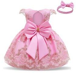 Кружевное платье принцессы для маленьких девочек; Вечерние платья для дня рождения; От 1 до 2 лет платье для новорожденных; Рождественская од...
