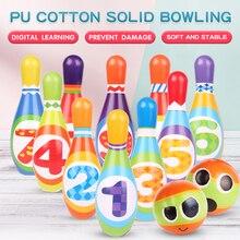 12 шт./компл. булавки для боулинга и шары, веселая безопасная полиуретановая развивающая игрушка для детей, игрушка для спорта на открытом во...