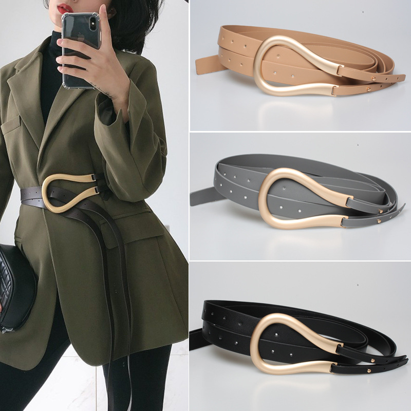 Luxury Quality Designer Belt Women Large Horseshoe Metal Buckle Double Belt Fashion Punk Corset Belt Jacket Waist Belts Women