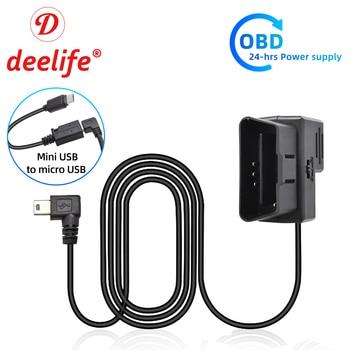 Deelife Hardwire Kit OBD2 Power Cable for Dash Cam Car DVR Reaview Mirror Camera 12V 24V to 5V Micro Mini USB Auto Hard Wire