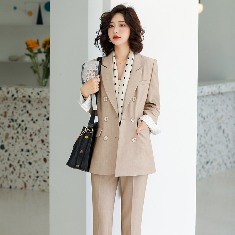 Large Size S-4XL High Quality Autumn And Winter Women's Professional Wear Temperament Full Sleeve Blazer Slim Trousers Suit Set
