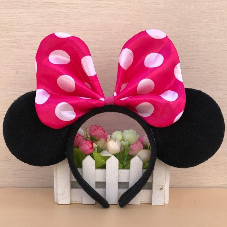 Головной убор Дисней Минни Маус, голова Микки, уши Минни Маус, головная повязка для девочек, обруч принцессы, плюшевые игрушки, косплей, прическа, хлопок, ручная работа - Цвет: Photo Color