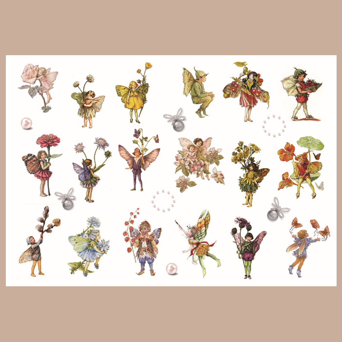 Vintage Girl\Cute Flower Fairy Series\Cartoon Character\Kawaii Angel\Retro Flower Grass Transparent Sulfuric Acid Label Sticker