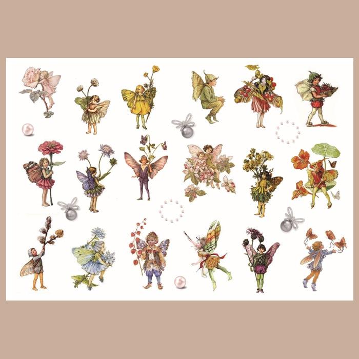 Vintage Girl\Cute Flower Fairy Series\Cartoon Character\Kawaii Angel\Retro Flower Grass Transparent Sulfuric Acid Label Sticker
