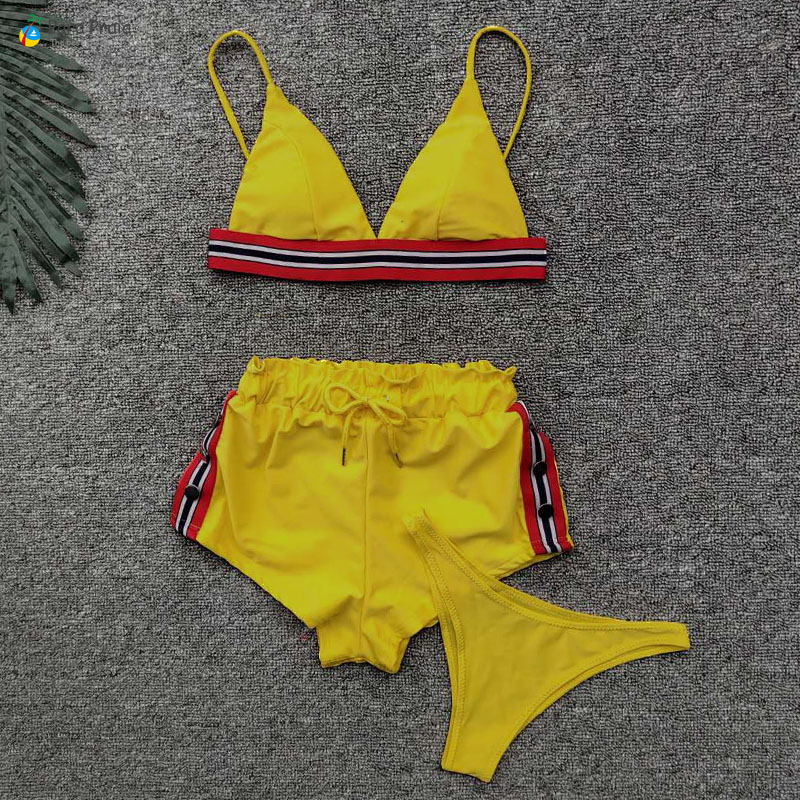Three Piece Push Up Swimwear Tanga Sport Bikin Set High Waist Swimsuit Bathing Suit Yoga Swimsuit Female Tankini Swimming Suit