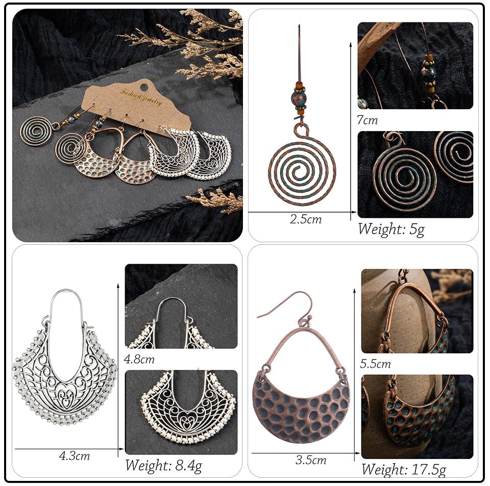 Bohemia Sea Shells Drop Earrings for Women Sets Vintage Ethnic Big Round Stones Wooden Tassel Fringe Earring Women's Set Jewelry (7)