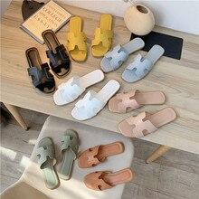 Pantoufles d'été blanches pour femmes, sandales plates, pantoufles de plage décontractées, pour tongs d'intérieur et d'extérieur, 2021
