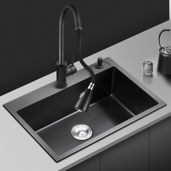 Nano 1.0mm Thickness Kitchen Sinks Black Stainless Steel Single Bove Counter or Udermount Washing Basin Sink for Kitchen