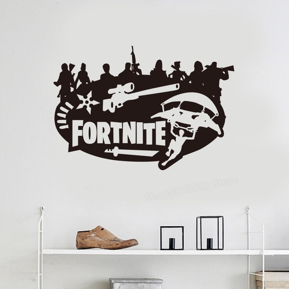 Настенные стикеры fortnights s Fortnites, аниме-игра, рисунок, наклейка, креветка, ночь, постеры для мальчиков, дверь, общежитие, украшение для дома, фон