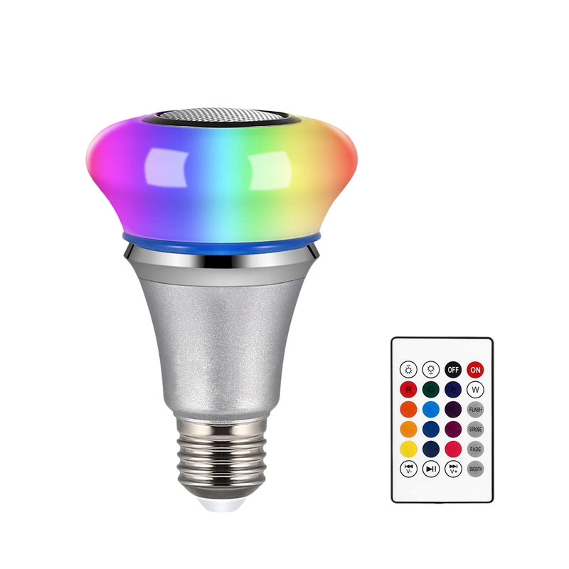 Bluetooth Light Bulb Speaker 6W E27 White RGB Changing Smart LED Lamp Wireless Stereo Audio With 24 Keys Remote Control