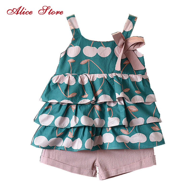 Kids Clothes Sets Summer Cute Girls Clothing Printed Cherry Cake Vest + Pink Shorts 2 Pcs Suit For3-7 Year Children 1