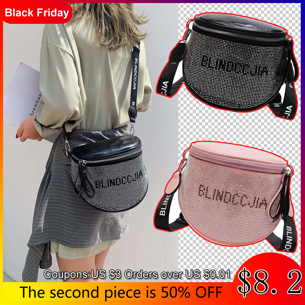 Messenger Bag Women's Shining Rhinestone Bags Women's Fashion Soft Leather Bags For Women 2019 Large Shoulder Bag Ladies