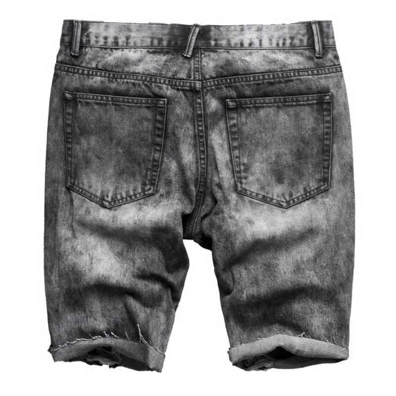 Vintage preto cinza lavado masculino fino ajuste jeans shorts rasgado buraco calças curtas verão casual rua motociclo denim shorts para homem