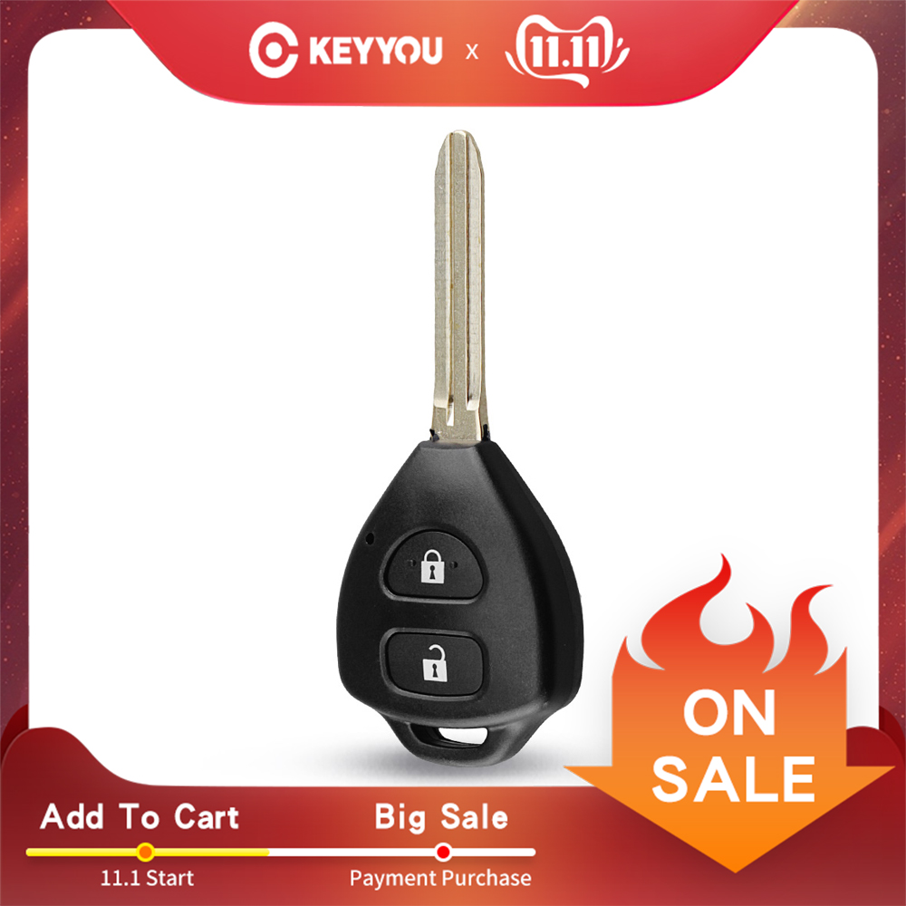KEYYOU 2 Button Uncut Replacement Plastic Remote Car Key Shell Cae Fob Blank Keys For Toyota Corolla RAV4 Toy43 Blade