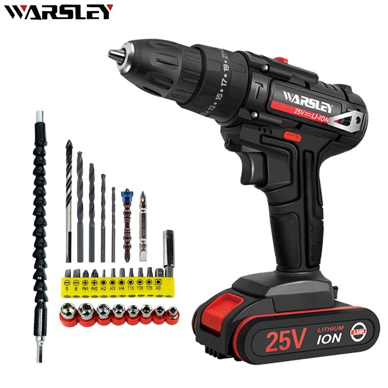 New 25V Electric Drill 25 + 1 Torque Screwdriver 1.5Ah Rechargeable Electric Screw Driver Electric Hammer Drill Electrical Tools