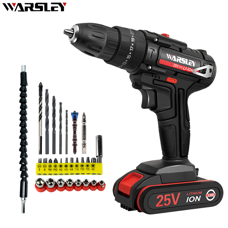 New <font><b>25V</b></font> electric drill 25 + 1 torque screwdriver 1.5Ah rechargeable electric screw driver Electric hammer drill electrical tools image