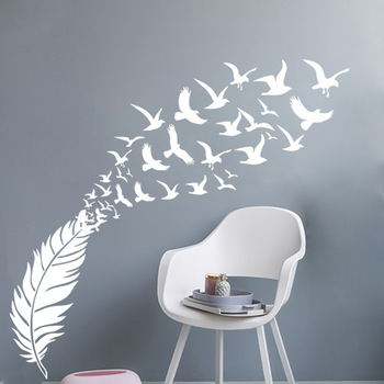 Delicate Feather Bird Decorative Vinyl Wall Stickers Bedroom Decor Decals Sticker For Kids Room Decoration Wallstickers beauty little girl wall sticker pvc wallstickers wall art wallpaper for kids room decoration waterproof adesivi murali lw588