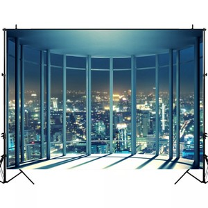 Image 3 - Laeacco Modern City Night Buildings French Window Photography Backdrops Photo Backgrounds Interior Decor Photocall Photo Studio