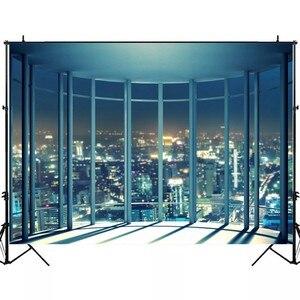 Image 3 - Laeacco fondos de fotografía de ventana francesa, edificios de ciudad de noche modernos, fondos de fotografía, decoración Interior, estudio fotográfico, Photocall