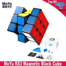 MOYU RS3M siyah sihirli küp 3x3 eğitici oyuncaklar çocuklar için 3x3x3 cubing sınıf RS3 M mıknatıslar hız küp