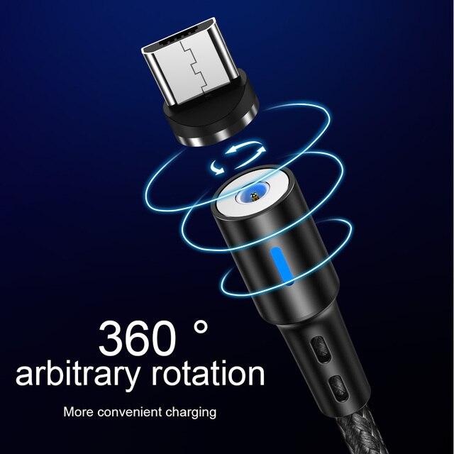 Cabo usb magnético para iphone, cabo de carregamento rápido para iphone 11, 7, 8, plus, xr, x, xs, max cabo de cabo de telemóvel 3