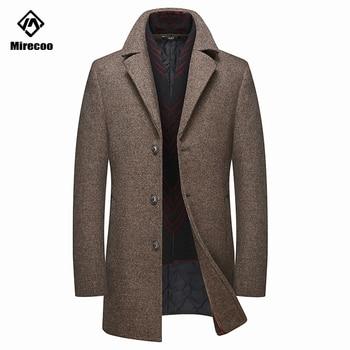 Mirecoo Men Fashion Wool Coat 2019 Winter Fashion Casual Male Woolen Long Overcoat Men's Business Solid Color Warm Wool Coat