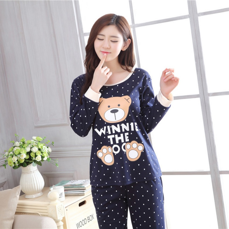 Trendy Women Pajamas Set Spring Autumn New Cute Cartoon Printed Long Sleeve Sleepwear Kawaii Casual Homewear Clothes Female
