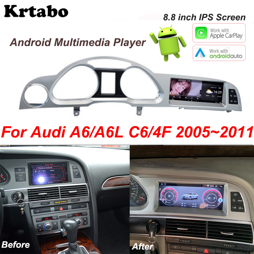 Мультимедийный плеер для Audi A6 A6L C6 4F 2005 ~ 2011, Android, радио, стерео, GPS навигация, Carplay, видео плеер|Мультимедиаплеер для авто|   | АлиЭкспресс