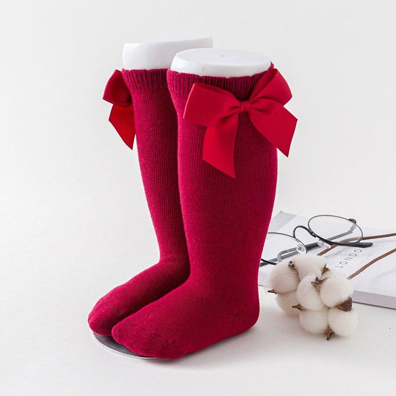 Winter Kids Socks for Girls Princess Socks Big Bows Knee High Baby Long Socks for Children Newborn Infant Cotton Sock 4