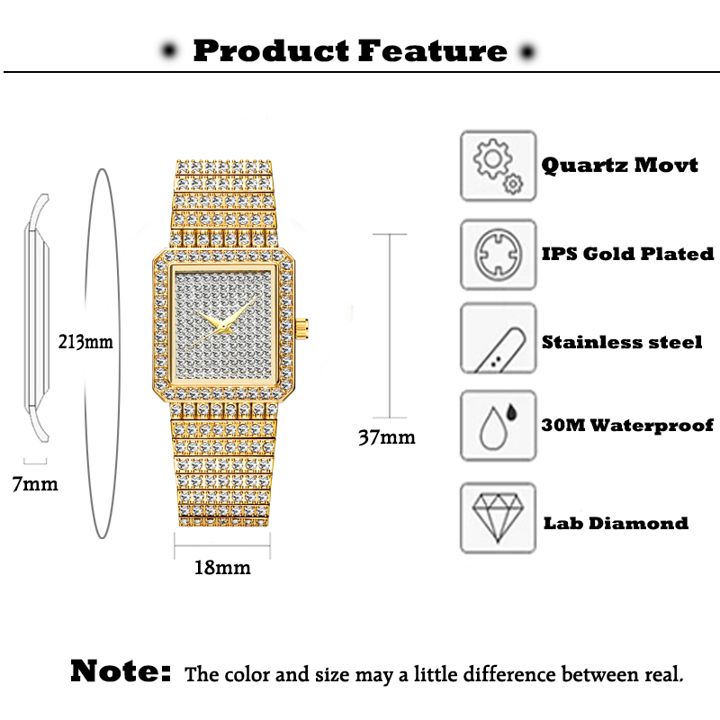MISSFOX Diamond Watch For Women Luxury Brand Ladies Gold Square Watch Minimalist Analog Quartz Movt Unique Female Iced Out Watch 2