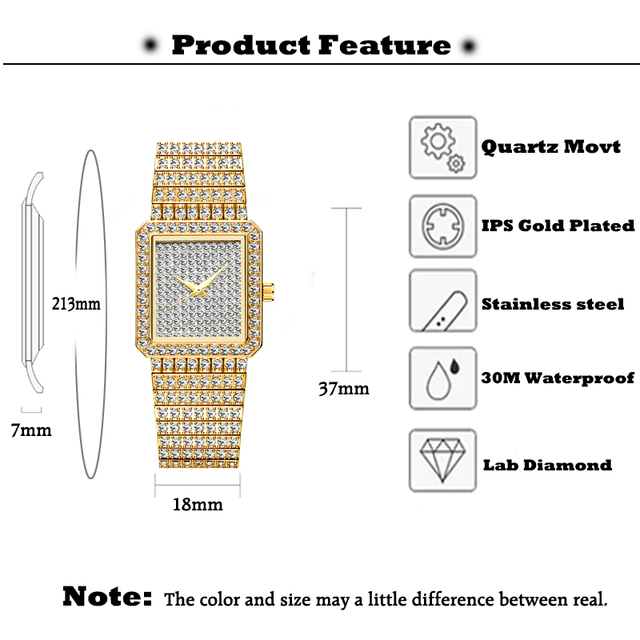 MISSFOX Diamond Watch For Women Luxury Brand Ladies Gold Square Watch Minimalist Analog Quartz Movt Unique Female Iced Out Watch 2