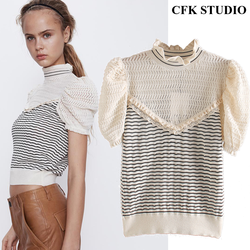 Za Women Summer Knitted T shirt with Ruffles O neck Striped Patchwork Short Sleeve Top Femme Casual Elegant Knitted Pullovers T-Shirts    - AliExpress
