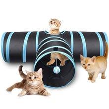 Indoor 3-way 3 holes Collapsible Cat Tunnel Tube Kitty Tunnel Bored Cat Pet Toys Peek Hole Toy Cat Puppy Kitty Kitten Rabbit