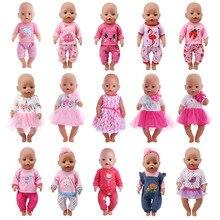 Одежда с изображением куклы единорога, 15 комплектов, футболка+ юбка/штаны, платье, подходит для 18 дюймов, американский и 43 см, для новорожденных, куклы, поколение, Рождество, для девочек