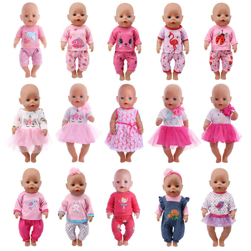 Doll Clothes 15 Styles T-Shirt+Skirt/Pants Unicorn Dress Fit 18 Inch American&43 Cm Baby Doll Generation Christmas Girl`s Toy