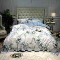 42 Luxury tencel Bedding Set soft Tencel Bed Linens Bed Sheet Set printed Bedclothes Queen/King Size Bed cover 4pcs