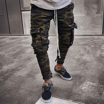 Drop Shipping 2019 New Arrive Men's Pants Army Green Camouflage Slim Long Pants Patchwork Casual Jeans Men Modis Streetwear 1