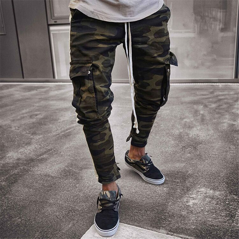 Drop Shipping 2019 New Arrive Men's Pants Army Green Camouflage Slim Long Pants Patchwork Casual Jeans Men Modis Streetwear