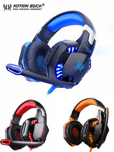 Gamer Earphone Headset Wired Kotion Each PS4 Backlit with for PC Laptop Deep-Bass-Stereo