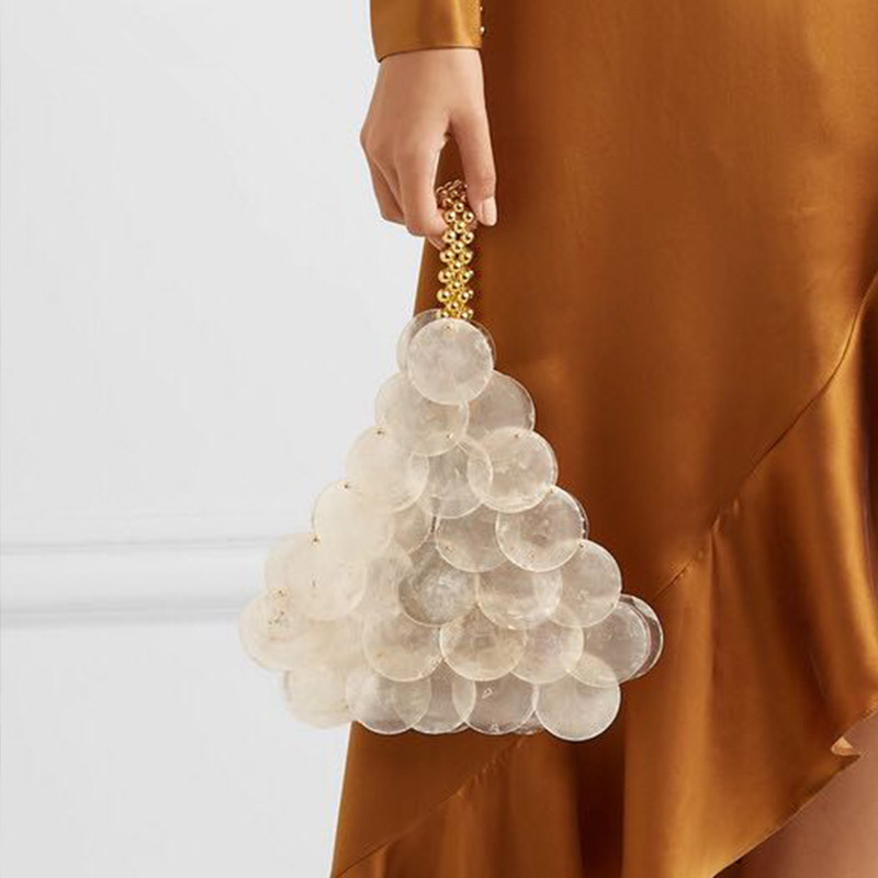 Women Bags Luxury Designer Natural Shell Flakes Golden Bead Acrylic Chain Woven Bag Evening Bags Clutch Female Holiday Handbag