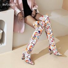 Autuspin patente de couro botas longas para as mulheres inverno queda multi cor sexy festa de casamento baile saltos altos sobre o joelho sapatos quentes