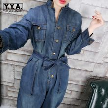 Vintage Women Boyfriend Loose Fit Casual One Piece Jeans Female Belt Sashes Denim Jumpsuits European Overalls Big Pockets Blue(China)