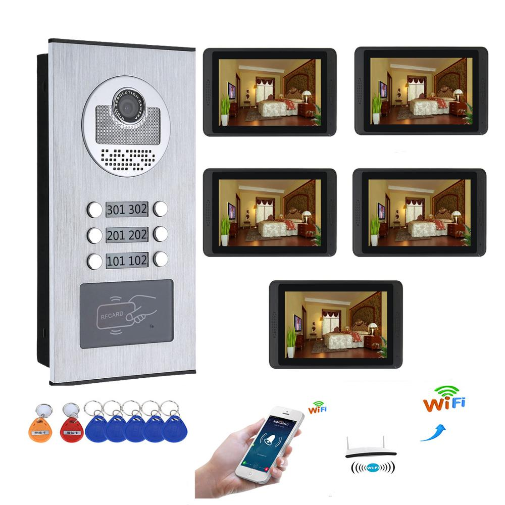 5 Units Apartment APP Control Video Intercom 7 Inch Monitor Wifi Wireless Video Door Phone Doorbell Speakerphone Intercom System