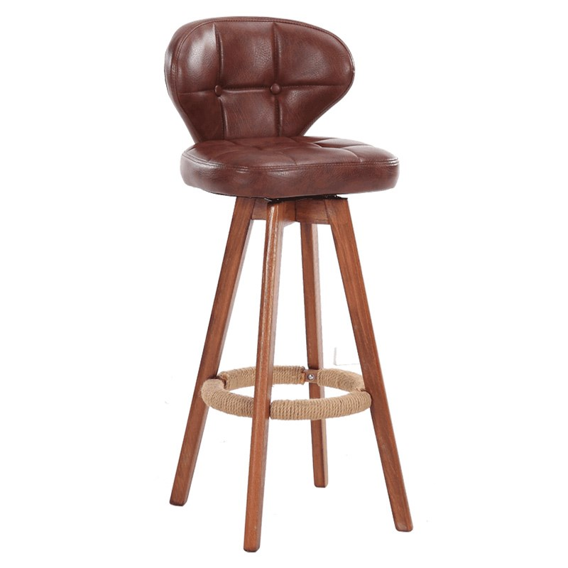 Nordic Rotating Bar Stool Solid Wood High  Retro  Chair Back Simple
