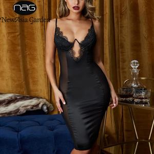Image 1 - NewAsia Mesh Sexy Dress Women 2019 Summer Bodycon Dresses Bustier Satin Lace Side Sheer Cups Party Dress See Through