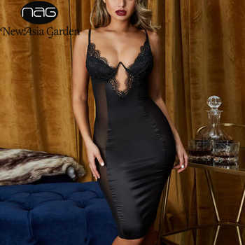 NewAsia Mesh Sexy Dress Women 2019 Summer Bodycon Dresses Bustier Satin Lace Side Sheer Cups Party Dress See Through - DISCOUNT ITEM  45% OFF All Category