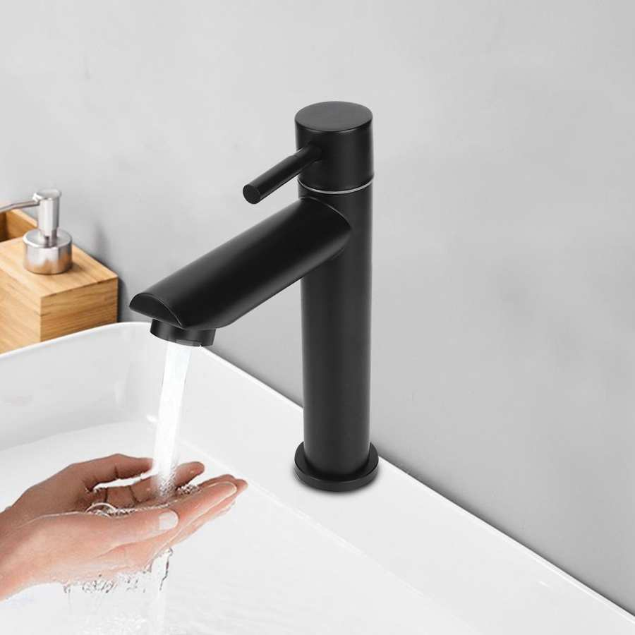 H10399f79cec04d6aad4db7e52185d078b G1/2in Black Kitchen Sink Faucet Stainless Steel Washbasin Faucets Single Cold Water Tap for Kitchen Bathroom basin water taps